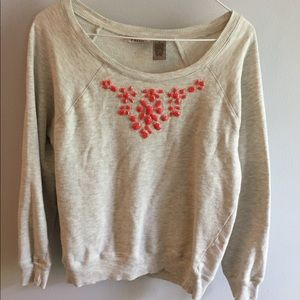 Cream marble jeweled crewneck sweatshirt